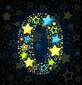 Number 0 cartoon star colored