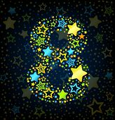 Number 8 cartoon star colored