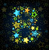 Letter B cartoon star colored