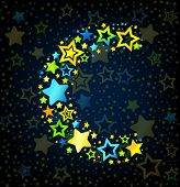 Letter C cartoon star colored