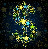 Dolar sign cartoon star colored