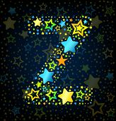 Letter Z cartoon star colored