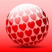 Ball with hearts on a red background. Vector Illustration.