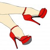 picture of stocking-foot  - The legs and feet of a sexy woman with red shoes - JPG