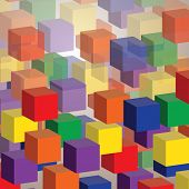 Colorful Abstract 3D Cubes Background for Technology or Business - Vector Design