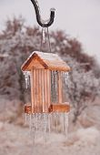 Bird feeder covered in thick layer of ice after an ice storm, with icicles hanging off the roof and the bottom