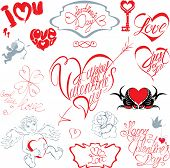 Set Of Hand Written Text: Happy Valentine`s Day, I Love You, Just For You, Etc. In Heart Shape. Call