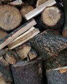 Background of dark firewood.