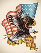 Bald eagle attacking with the flag of USA on the background. Old-school tattoo design. Editable vect