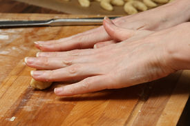 foto of doughy  - making some vanilla cornets and knead the doughy - JPG