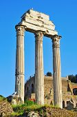 remains of the Temple of Castor and Pollux in the Roman Forum in Rome, Italy