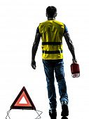 one man with safety vest silhouette isolated in white background