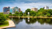Cityscape scene of downtown Huntsville Alabama from Big Spring Park