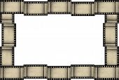 Abstract grunge film strip frame on white background