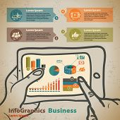 Template For Infographic With Hands With Tablet In Vintage Style