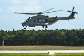 BERLIN, GERMANY - MAY 20, 2014: Multi-role military helicopter NH90 NFH (NHIndustries/France) demons