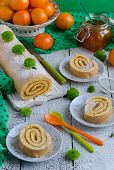 Biscuit roulade with jam