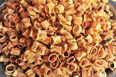 foto of fibrin  - thai fried roll dry sweet banana snack food - JPG