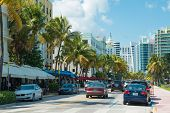 MIAMI,USA - MAY 21,2014 : Ocean Drive hotels and buildings in Miami Beach, Florida. Art Deco archite