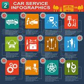 Car service, repair Infographics. Vector illustration