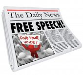 stock photo of freedom speech  - Free Speech words in a newspaper headline reedom of press - JPG