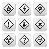 Danger, risk, warning buttons set