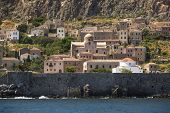 Medieval fortress of Monemvasia in Greece.