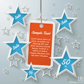 Orange Price Sticker Blue Stars