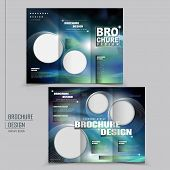 Vector Tri-fold Technology Style Brochure Layout Design Template