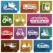 image of dumper  - Transport flat icons with shadow - JPG