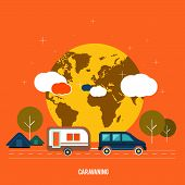 picture of caravan  - Caravaning near the tree - JPG