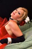 foto of harlot  - Beautiful blonde laying back dressed up as old time saloon girl or madam can also be a sexy mrs - JPG