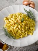 malloreddus pasta with mozzarella onions and saffron