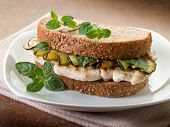 image of sauteed  - sandwich with grilled chicken and sauteed zucchinis - JPG