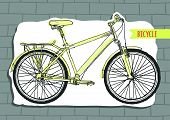Vector illustration bicycle, white background, brick wall