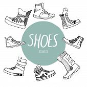 Black and white vector set with men's shoes and blue circle