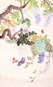 picture of butterfly-bush  - Traditional Chinese painting of flowers and butterfly - JPG