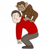 An image of a man with a monkey on his back.
