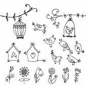 cute birds, tree and bird's nesting boxes