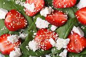 Background Macro Salad Of Strawberry , Spinach, Goat Cheese