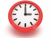 Round Office Clock Shows Three O'clock