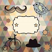 Elements Of Style Hipster Hand-drawn On A Background Of Triangles For Your Design.