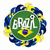 image of brazilian carnival  - Creative Abstract Brazilian Soccer Team Badge vector illustration - JPG