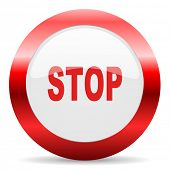 stop glossy web icon