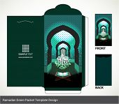 Vector Muslim Ramadan Element Money Green Packet Design. Translation: Happy Eid-Ul-Fitr, Feast of Br