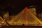 Louvre Museum And The Pyramid In Paris, France, At Night Illumination