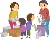 Illustration of a Family Segregating Trash
