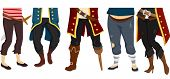 Cropped Illustration Featuring the Feet of a Pirate Crew