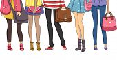 stock photo of half-dressed  - Cropped Illustration Featuring Teenaged Students Dressed for School - JPG
