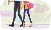 Cropped Illustration of a Couple Shopping Together